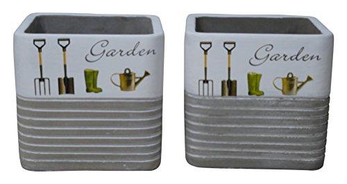 - Kasa Modern Design KM6544SET Concrete Urban Square 2Piece Pot Planter Set, Gray Cement