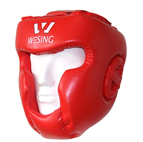 wesing Leather Boxing MMA Protector Headgear UFC Fighting Head Guard Sparring Helmet (red, L)