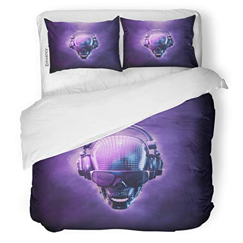 SanChic Duvet Cover Set Disco Ball Skull 3D of Shaped Mirror Headphones Decorative Bedding Set with 2 Pillow Cases Full/Queen -