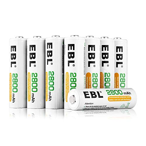 EBL Lot de 8 piles rechargeables Ni-MH Idéal pour les équipements électriques de la maison Livrées avec un boîtier de rangement AA 8 Baterías