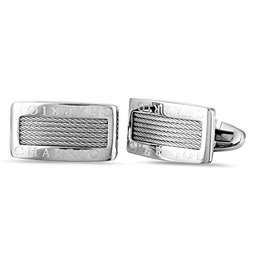 - Charriol Celtic Stainless Steel Cable Rectangle Cufflinks