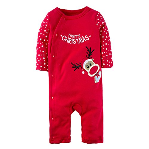 BIG ELEPHANT Baby Boys'1 Piece Elk Christmas Snap Up Long Sleeve Romper Pajama Red I 6-12 months. - First Christmas Sleeper