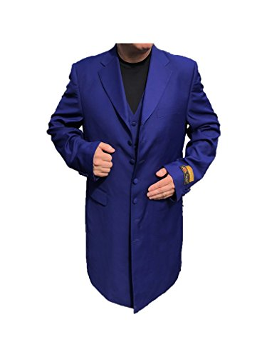 Alberto Nardoni Men's 3 Piece Solid Purple Gangster Zoot Suit with Matching Vest (3 Piece Zoot Suit)