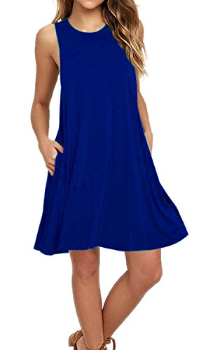 AUSELILY Women's Summer Sleeveless Pocket Sundress Royal Blue