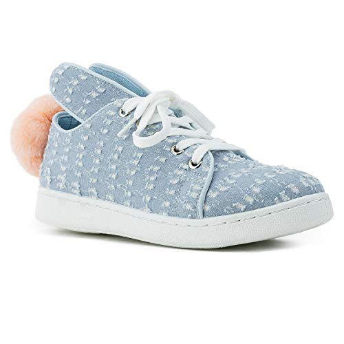 - RF ROOM OF FASHION Women's Bunny Lace Up Flatform Fashion Sneakers Blue Size.10