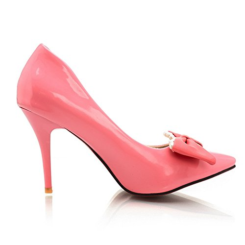 Balamasa Mujeres Bows Spikes Stilettos Low-cut Uppers Urethane Pumps-Zapatos Pink