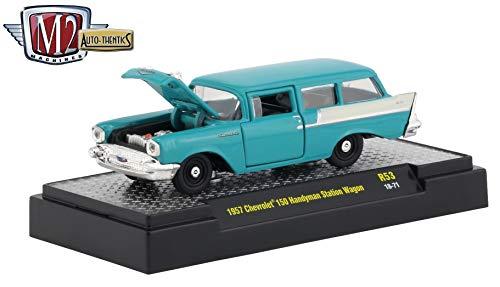 M2 Machines 1957 Chevrolet 150 Handyman Station Wagon (Tropical Turquoise) Auto-Thentics Series Release 53 - Castline 2019 Premium Edition 1:64 Scale Die-Cast Vehicle (R53 18-71)