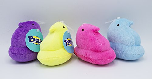 Peeps Plush Chick Toys for Dogs, Soft, Stuffed, and Squeaky, Medium, 4 (Chick Dog Toy)