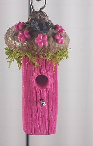 Miniature Natural Bird - Fairy garden miniature bird house. Pink with acorn cap roof. Fairy garden accessories, terrarium décor.