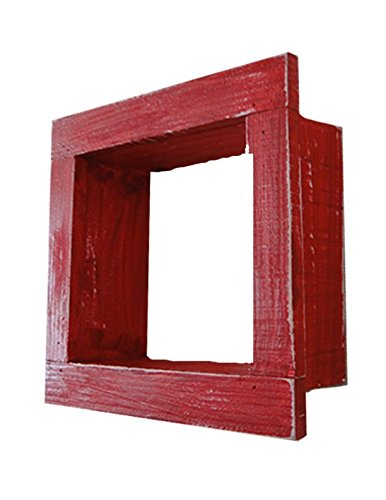 Square Wood / Wooden Shadow Box Display - 9'' x 9'' - Red - Decorative Reclaimed Distressed Vintage Appeal by IGC