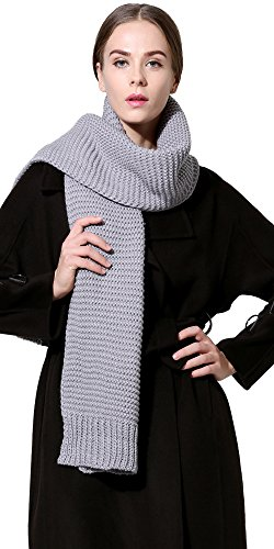 (Women Men Winter Thick Cable Knit Wrap Chunky Warm Scarf All Colors Grey)