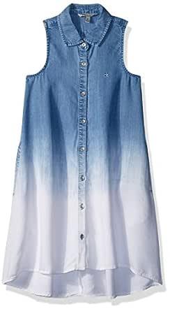 Calvin Klein Little Girls' Dress, Indigo Fade, 6X