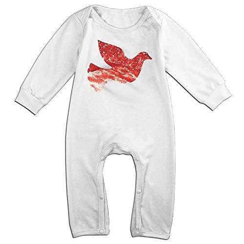 (TYLER DEAN Baby Girl Long Sleeved Coveralls Ruby Peace Dove Kid Pajamas White)