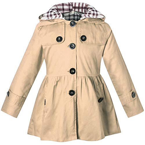 Little Girl's Long Sleeves Chino Cotton Winter Quilted Hooded Trench Coat Outerwear, Khaki, Age 4T-5T (4-5 Years) = Tag 120