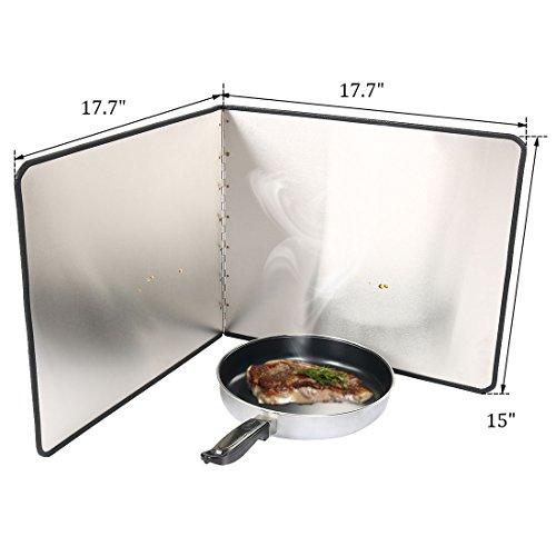 uxcell Oil Splash Guard, Stainless Steel Foldable Splatter Block for Frying Pan, Stove Shield, Kitchen Range Hood Wall Shield, 17.7