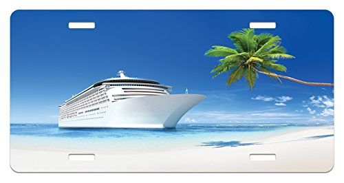 Travel License Plate by Lunarable, Ship Coastline Palm Tree Sandy Beach Nature Sunny Day Exotic Journey Seascape, High Gloss Aluminum Novelty Plate, 5.88 L X 11.88 W Inches, Blue Green - Ship Sunny Green