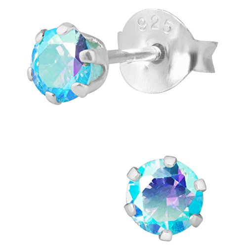 - Hypoallergenic Sterling Silver Aurora Borealis Aqua Crystal Round Stud Earrings for Kids (Nickel Free)