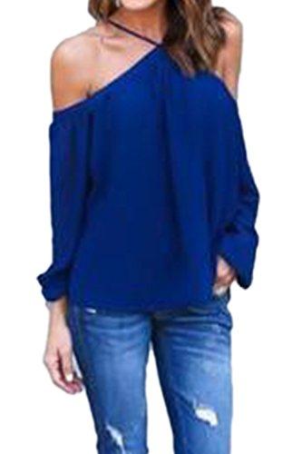 Manga larga vestido camiseta suelta gasa blusas Navy