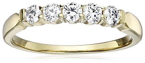 IGI Certified 14k Yellow Gold Diamond 5 Stone Anniversary...