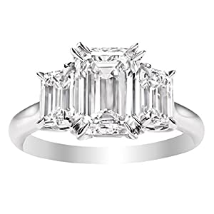 1 Carat 14K White Gold Emerald Cut 3 Three Stone Diamond Engagement Ring (G Color VS1 VS2 Clarity)