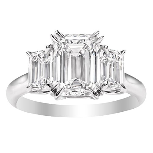 1.5 Carat 14K White Gold Emerald Cut 3 Three Stone Diamond Engagement Ring (I Color VS1-VS2 Clarity) (Fashion Ring Diamond Three)