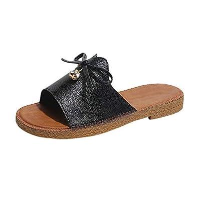 4a74c2652e99 Kairuun Women s Sliders Slim Fit Flat Sandals Casual Leather Sandals  Slipper White Black Beige