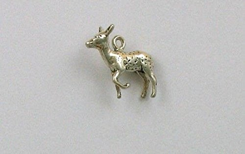 Sterling Silver 3-D Doe or Female Deer Charm Jewelry Making Supply, Pendant, Charms, Bracelet, DIY Crafting by Wholesale Charms