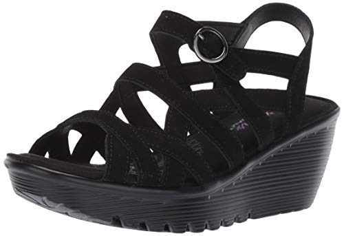 Skechers Women's Parallel-Three Strap Buckle Slingback Wedge Sandal, Black, 9.5 M US