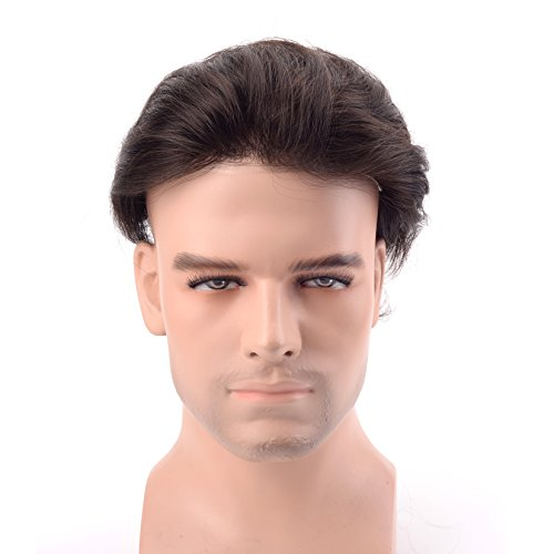 Lordhair Thin Skin Toupee for Men Hair Piece Real Human Hair V-looped Off Black Color 1B# by Lordhair