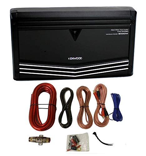 Kenwood KAC-9106D 2000W Monoblock Class D Car Audio Power Amplifier + Amp Kit (Renewed) (Kenwood 2000w Amp)