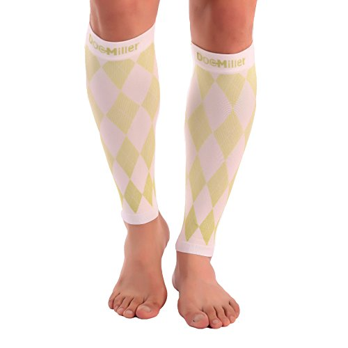 Doc Miller Premium Calf Compression Sleeve 1 Pair 20-30mmHg Strong Calf Support Graduated Pressure for Sports Running Muscle Recovery Shin Splints Varicose Veins (Argyle White. Green, Medium)