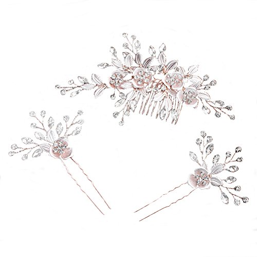 Bridal Hair Comb & Hairpin Set, Exquisite Floral Leaves Bridal Headdress Handmade Rose Gold Alloy Comb Pins Hair Accessories hot sale