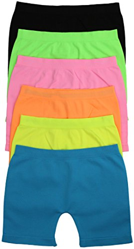 ToBeInStyle Girls' Pack of 6 Above Knee Seamless Shorts - Solid Color - Large (Dance Shorts For 8year Olds)