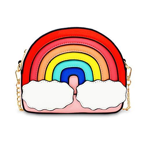 Rainbow Shape Crossbody Bag, Ustyle Women Girl Cute Shopping Shoulder Bag Removable Chain Strap (pink)]()