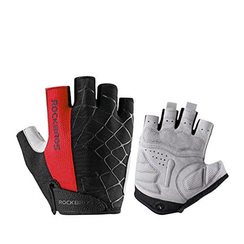 RockBros Cycling Spider Gloves Padded Mountain Bike Gloves Half Finger Outdoor Men's Sports Gloves Black