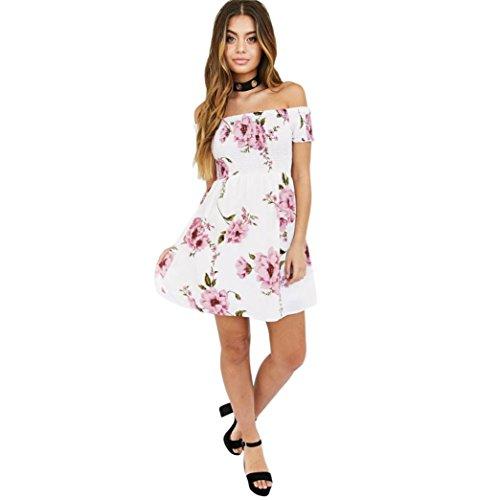 Kleid Transer® Damen Ebene Off Schulter Kleider Outdoor Weiß Drucken Blume Polyester Minikleid Gr. 36-42