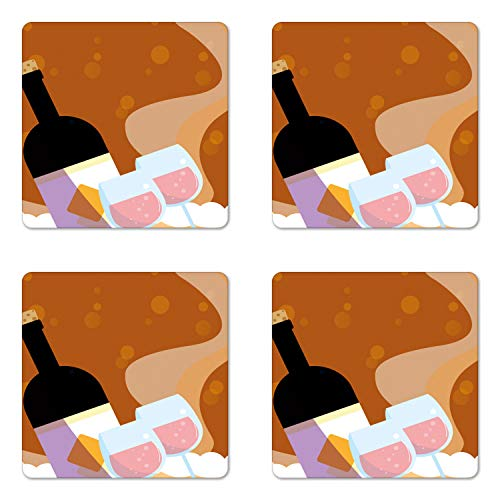 Cinnamon Merlot Wine - Ambesonne Merlot Coaster Set of Four, Rose Wine Bottle Glasses Bubbles Background Cartoon, Square Hardboard Gloss Coasters for Drinks, Cinnamon Pale Pink Almond and Pale Lilac
