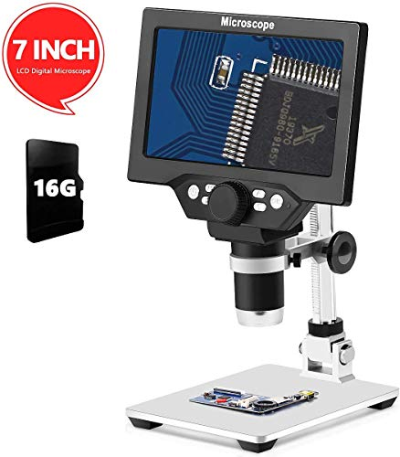 LCD 7 Inch Digital Microscope 1-1200X Maginfication with 16G TF
