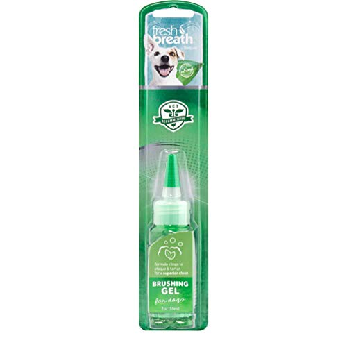 TropiClean Fresh Breath Brushing Dental & Oral Care Gel for Dogs & Cats, 2oz, Made in USA - Removes Plaque & Tartar
