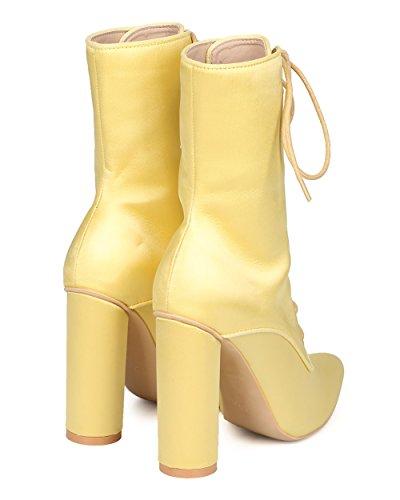 Bota De Tacón Grueso Con Cordones Para Mujer De Cape Robbin - Elegante, Fiesta, Noche De Chicas - Bota De Punta Puntiaguda - Gf85 By Yellow