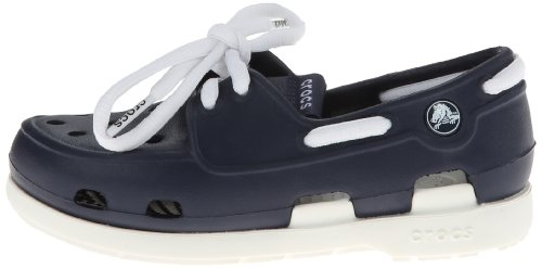 crocs Beach Line Lace PS Boat Shoe (Toddler/Little Kid),Navy/White,10 M US Toddler by Crocs (Image #5)