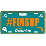 Siskiyou NFL Miami Dolphins Hashtag License Plate, Teal