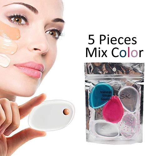 Mesaki Silicone Makeup Sponge 5 Pack Mix Color [Washable] Premium Quality