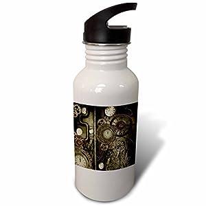 3dRose Heike Köhnen Design Steampunk – Steampunk design, clocks and gears – Flip Straw 21oz Water Bottle (wb_262388_2)