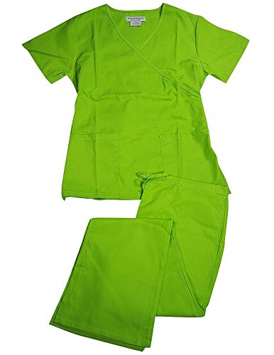 Natural Uniforms Women's Mock Wrap/Flare Pant Medical Scrubs Set (Lime Green, (Poly Set Green)