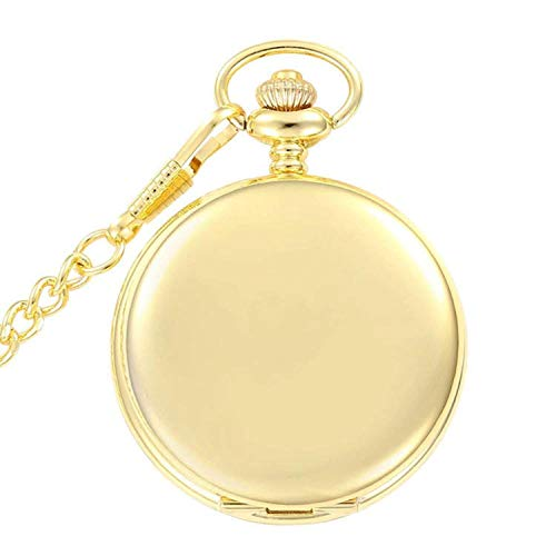 Classic Golden Vintage Smooth Quartz Pocket Watch with Chain + Gift Box