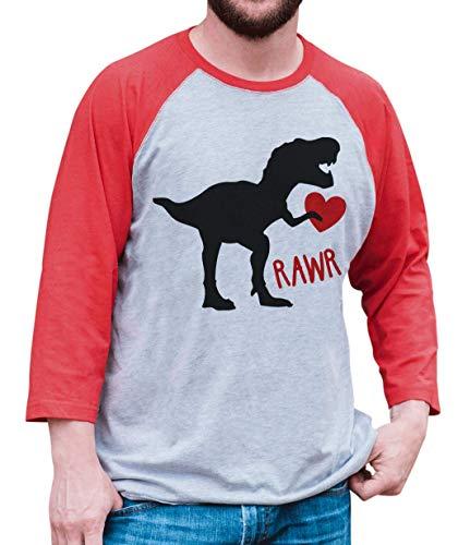 7 ate 9 Apparel Mens Dinosaur Valentines Day Raglan Shirt