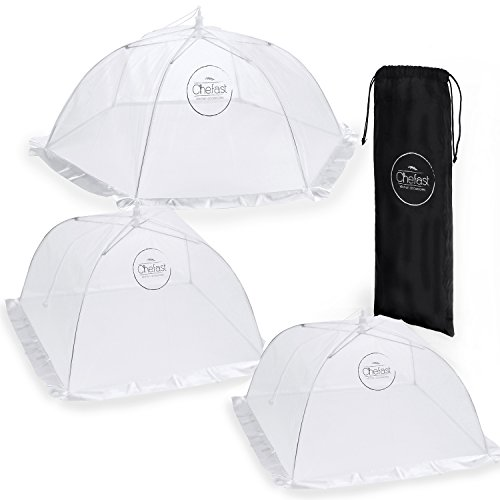 Fly Table - Chefast Food Cover Tents (3 Pack) - Combo Set of Pop Up Mesh Covers in 3 Sizes and a Reusable Carry Bag - Umbrella Screens to Protect Your Food and Fruit from Flies and Bugs at Picnics, BBQ and More