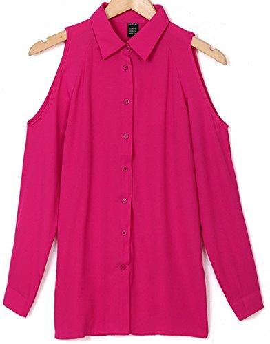 Pullover Donne Spalla Tunica Maglietta Manica Bluse Fredda Top Sweatshirt Casual Chiffon Sciolto Lunga Colore Rosa di Sexy DouYuLike Shirts rossa Camicie Solido BqPdfP
