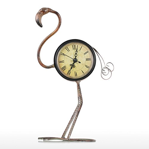 Tooarts Flamingo Clock Vintage Metal Animal Figurine Mute Table Clock Home Decor